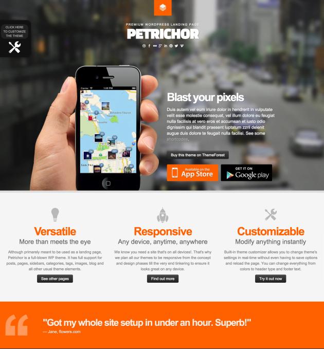 Petrichor-landing-page-theme