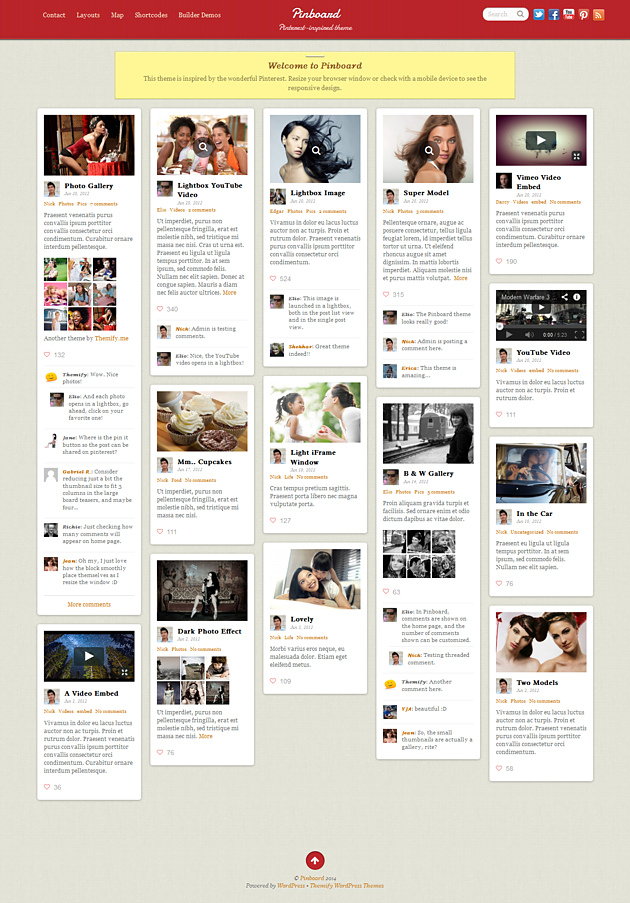 pinboard pinterest style wordPress theme