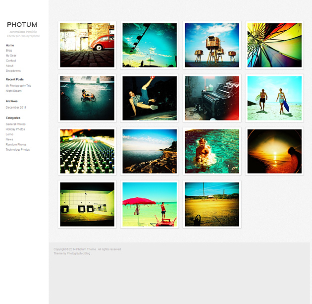 photum pinterest style wordPress theme