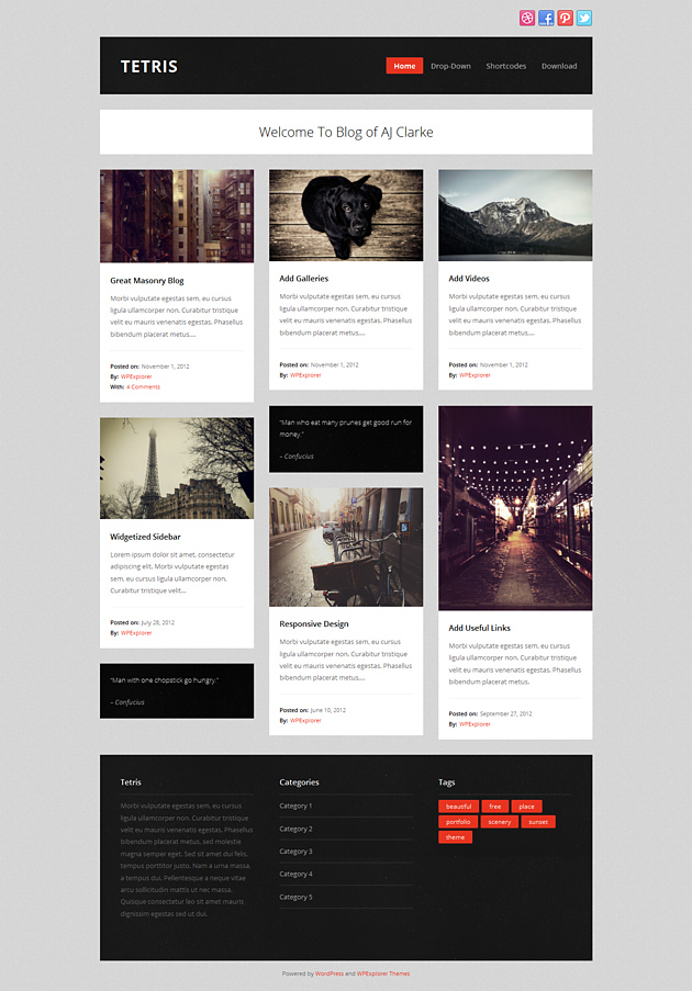 tetris pinterest style wordPress theme