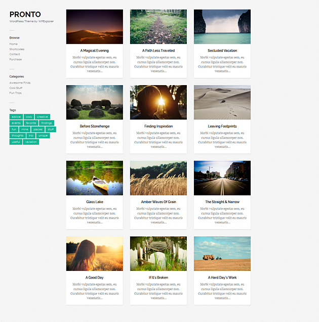 pronto pinterest style wordPress theme
