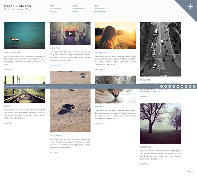 brick pinterest style wordPress theme
