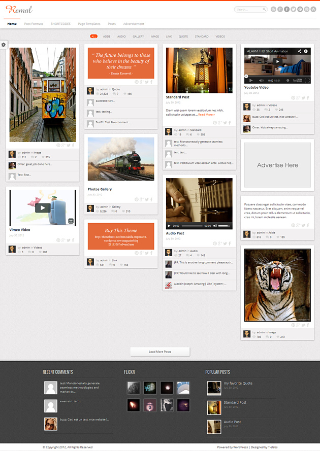remal pinterest style wordPress theme