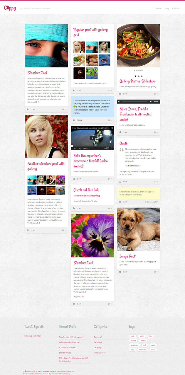 cippy pinterest style wordPress theme