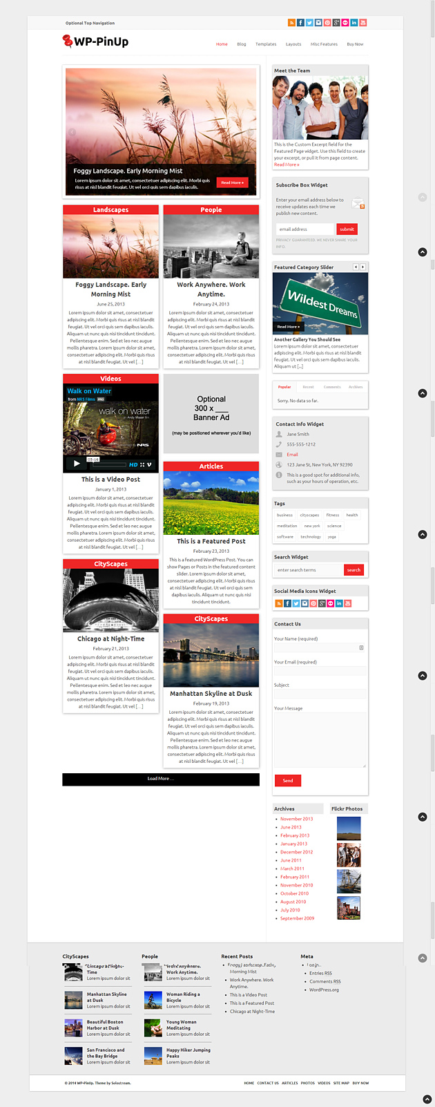 wp pinterest style wordPress theme