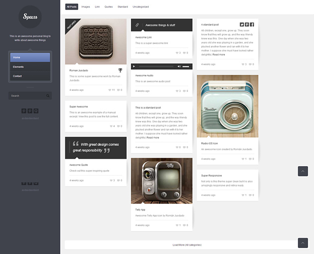 spaces pinterest style wordPress theme