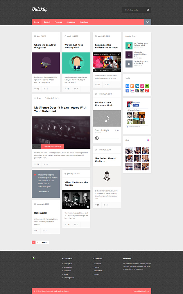 quickly pinterest style wordPress theme