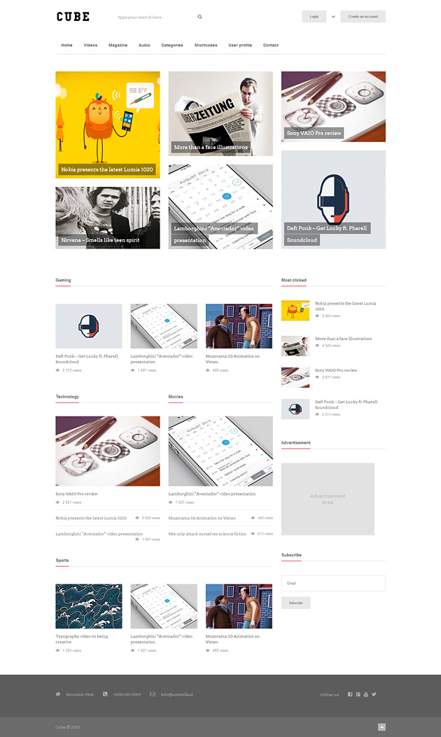 cube pinterest style wordPress theme