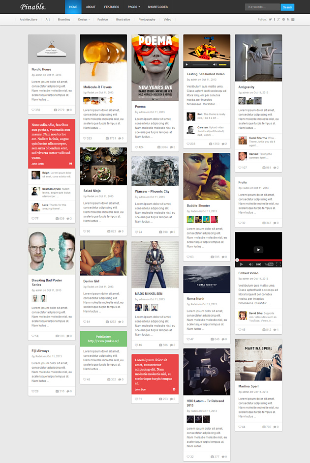 pinable pinterest style wordPress theme