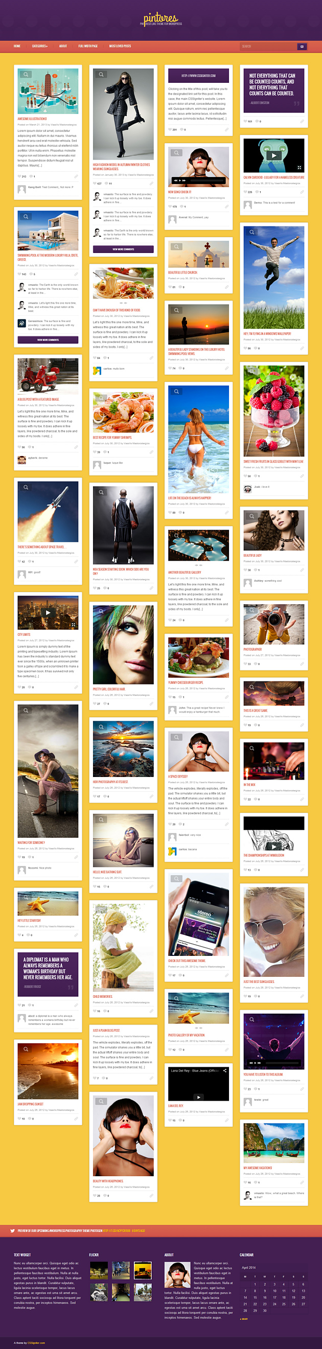 pintores pinterest style wordPress theme