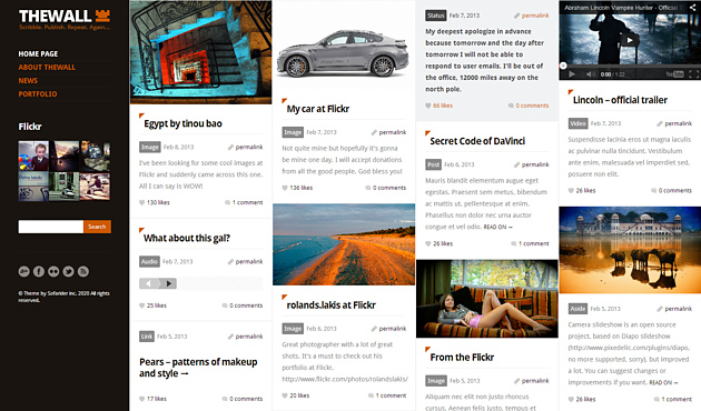 the pinterest style wordPress theme