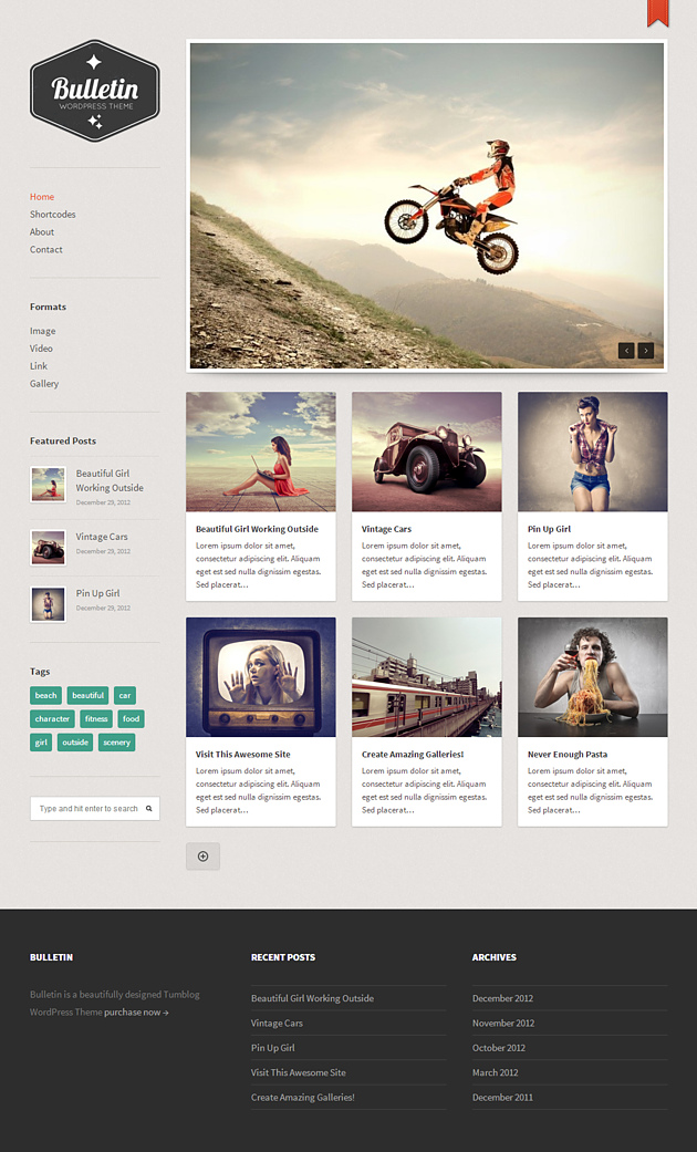 bulletin pinterest style wordPress theme