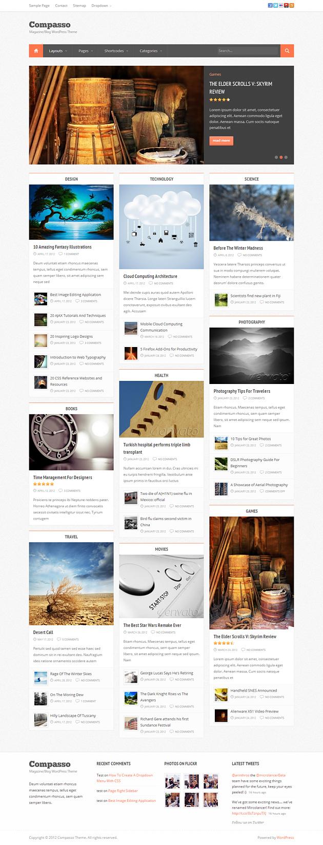 compasso pinterest style wordPress theme