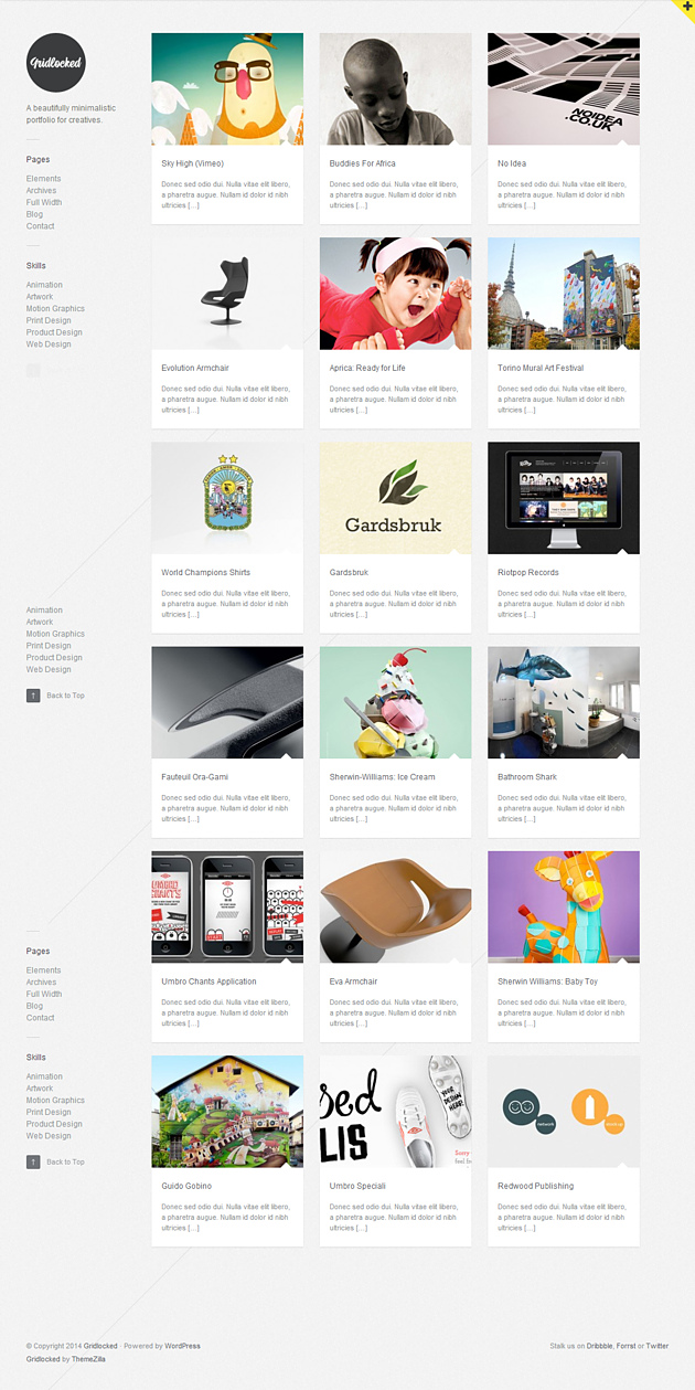 gridlocked pinterest style wordPress theme