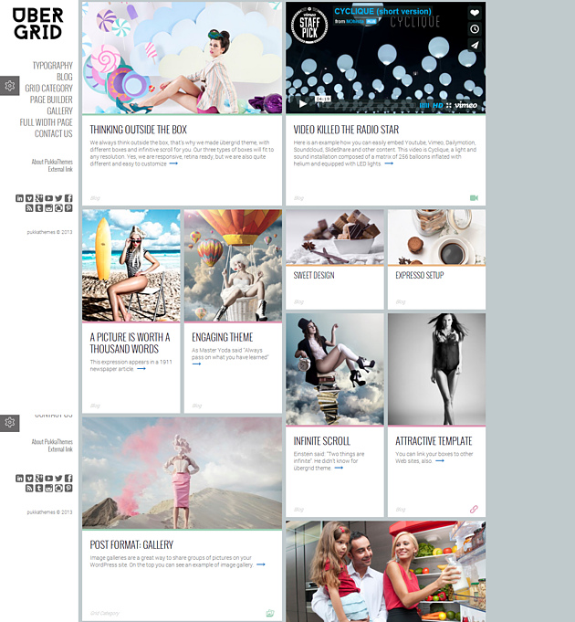 ubergrid pinterest style wordPress theme