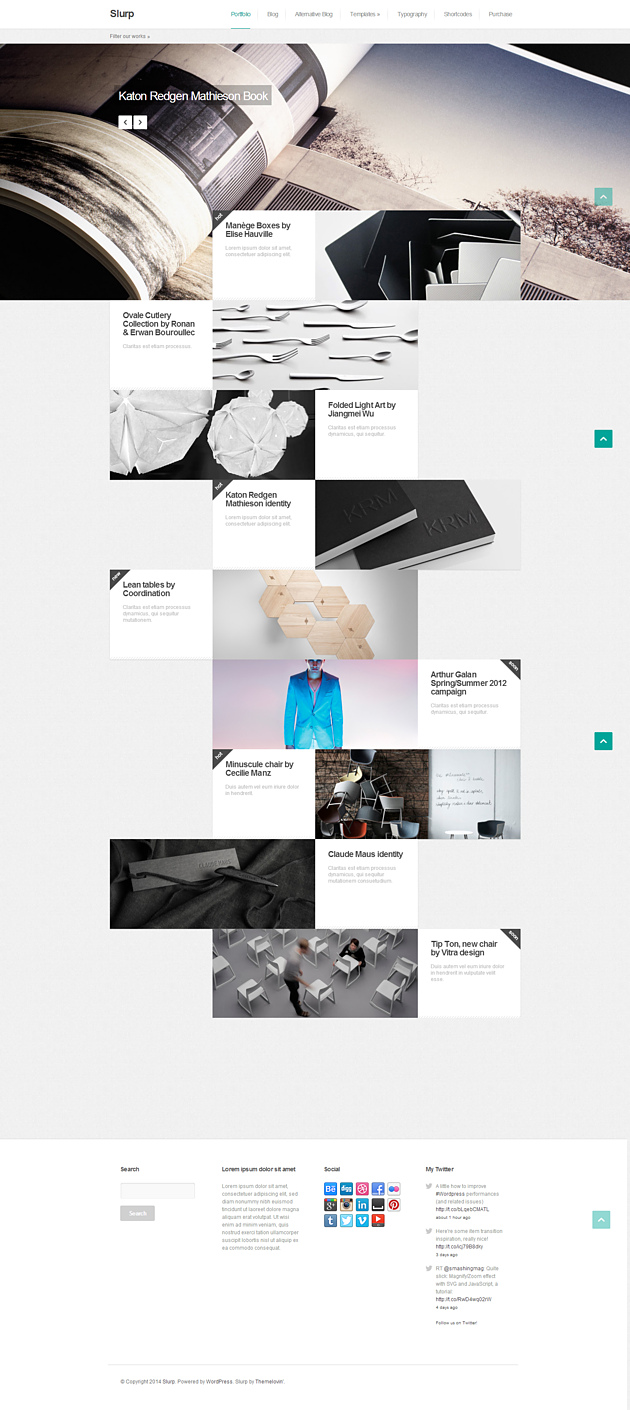 slurp pinterest style wordPress theme