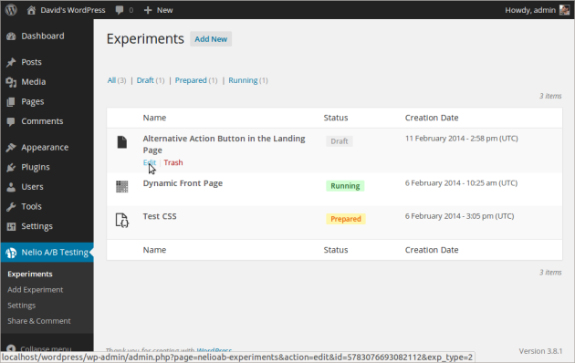 Managing multiple experiments