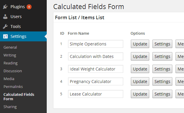 Calculated Fields Form Menu