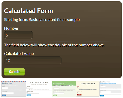 Calculated Fields Form Templates