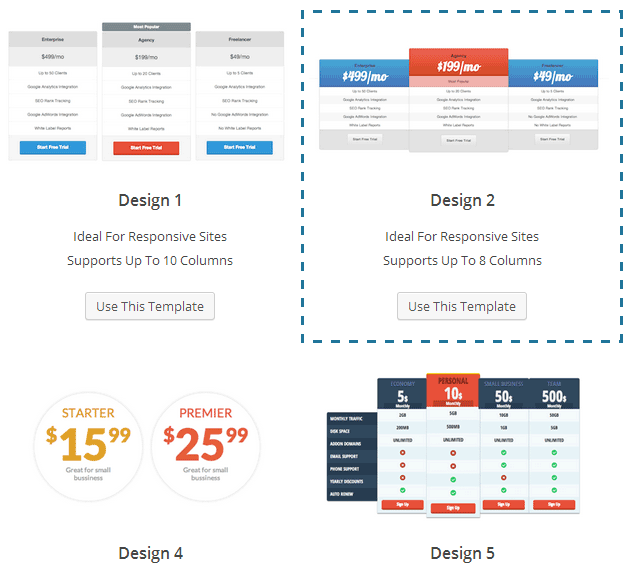 Easy Pricing Tables Templates