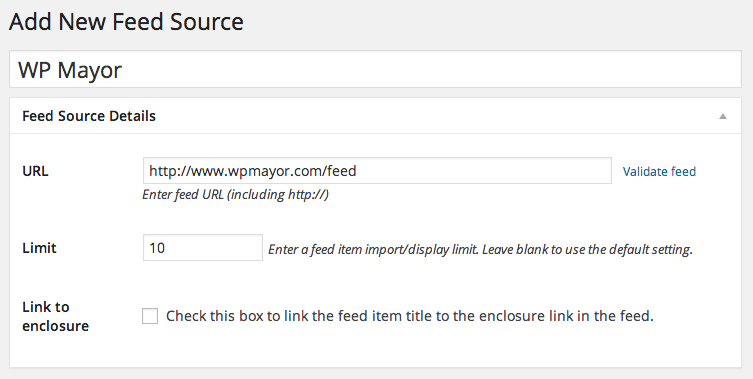Add New Feed Source ‹ WP RSS Aggregator Test Site — WordPress