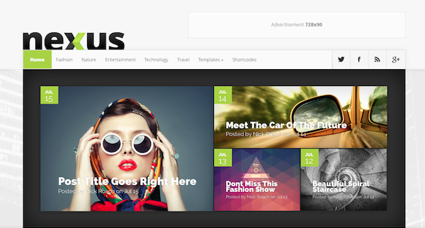 The Nexus Theme from Elegant Themes features prominent social media icons in the main navigation bar.