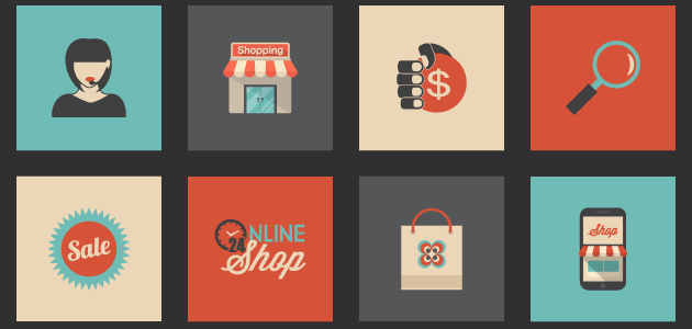 More than 30 Retro Shopping Icons