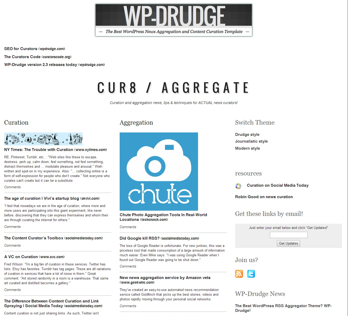 Wp rss aggregator wp drudge combo it just works wp mayor for News aggregator template