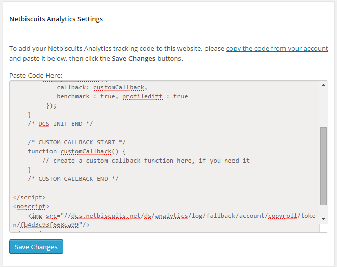 Netbiscuits Mobile Analytics review plugin config