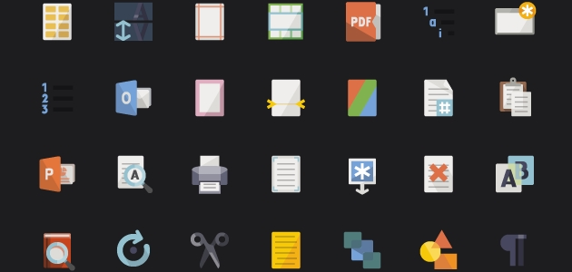 Flat Text Icons