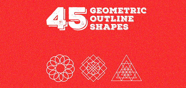 45 Geometric Outline Shapes (AI and EPS)