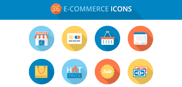 Flat E-commerce Icons Set (PSD, PNG, AI and EPS)