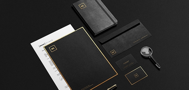Black & Gold Mockup for Stationary Design