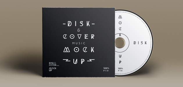 CD Cover & Disk Mockup in PSD