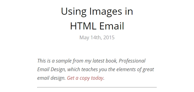 Using Images in HTML Email (Book Sample)
