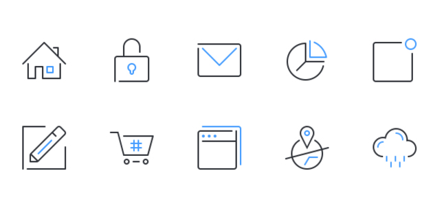 24 Usefull and Elegant PSD Outlined Icons