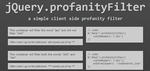 Client-side JQuery Profanity Filtering Plugin