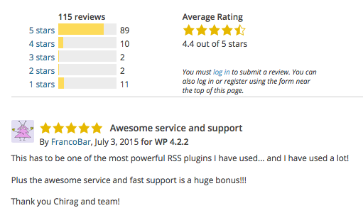 A screenshot of WP RSS Aggregator's ratings and reviews on the WordPress plugin repository