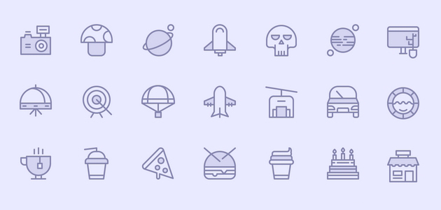 Birply: Monochromatic Semi-filled Outline Icons Set