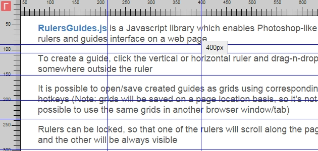 RulersGuides: On-Page Ruler Guides Generator JavaScript Plugin