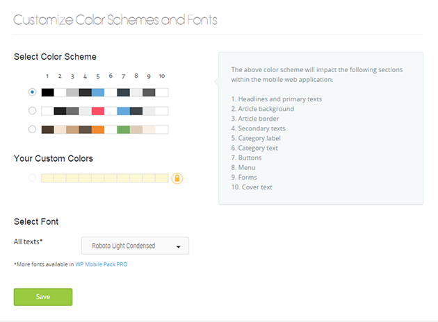 WordPress Mobile Pack - Color Schemes