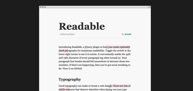 Readable: Readable Paragraphs JQuery Plugin