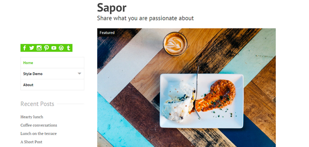 Sapor: Clean Blogging WordPress Theme