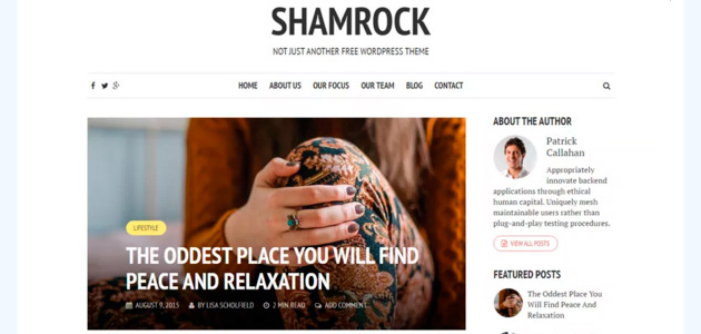 Shamrock: Clean Text Focused Blogging WordPress Themes
