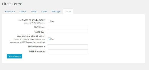 Configure SMTP options for Pirate Forms