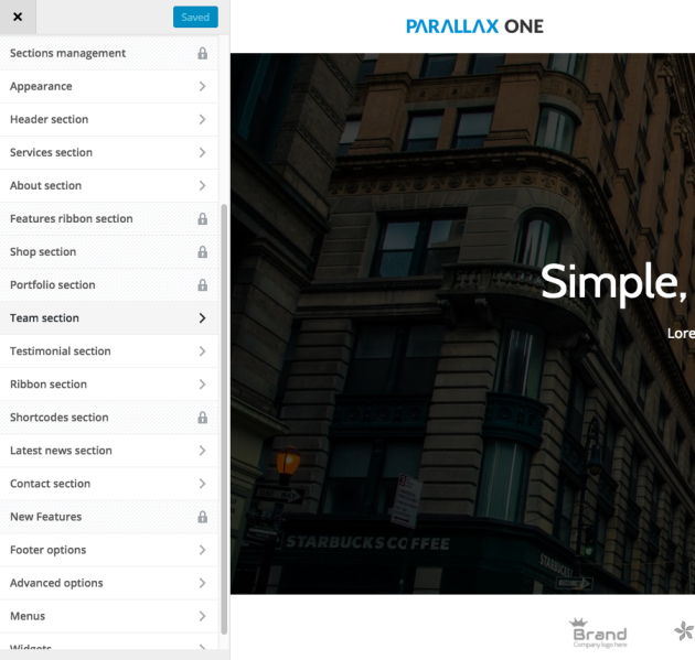 Parallax One Theme Customizer Settings
