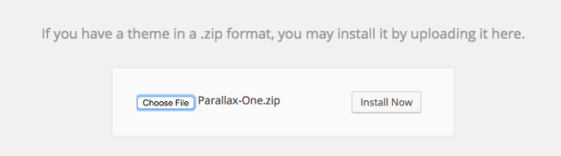 Parallax One Theme Upload