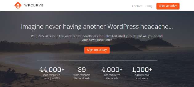 An image showing the WPCurve homepage.