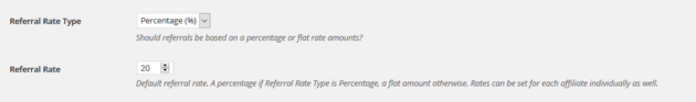 Setting Affiliate Referral Rates