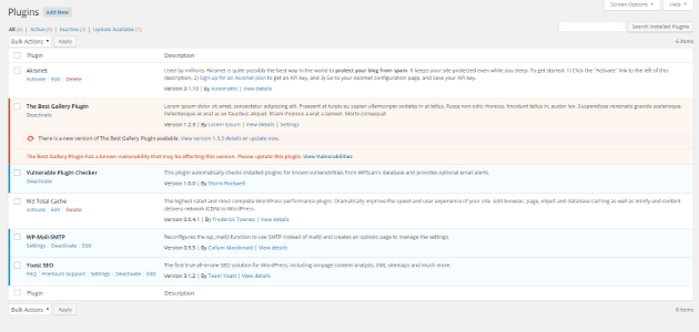 Vulnerabilities Checker WordPress Plugin